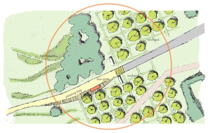 Detail plan of potential busway